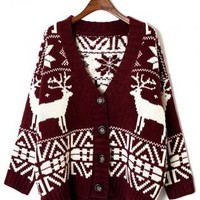 Wine Cardigan with Contrast Snowflake & Elk Pattern