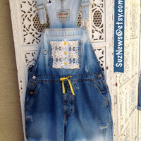 Lace Daisy Short Overalls Shortalls CUSTOM ORDER Dungarees Bleach Dip Dyed Festival Hipster Farmers Bib Jeans //Suznews Etsy Store//