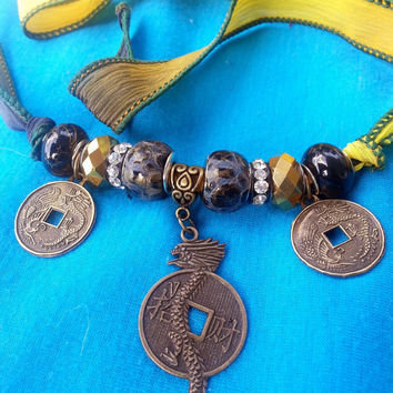 Awesome Silk Wrap Bracelet/ Necklace with Dragon Coin Charm/Chinese Coin Charms