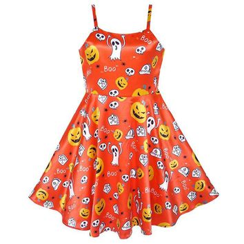 Sunny Fashion Girls Dress Halloween Pumpkin Ghost Costume Tank Dress 2018 Summer Princess Wedding Party Dresses Size 4-10