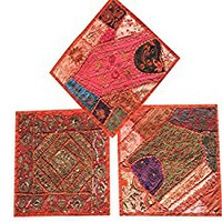 """Set Of 3 Boho Decorative Indian Throw Pillow Cases Orange Embroidered Patchwork Cushion Cover 16 """" x 16 """""""