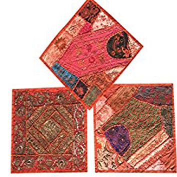 "Set Of 3 Boho Decorative Indian Throw Pillow Cases Orange Embroidered Patchwork Cushion Cover 16 "" x 16 """