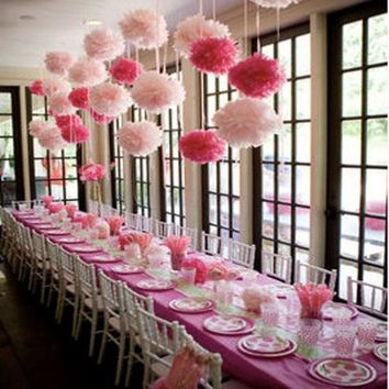 LMFONHS 1pcs cute babyshower decoration 15cm 6 inch Tissue Paper Flowers paper pom poms balls lanterns Party Decor Craft Wedding