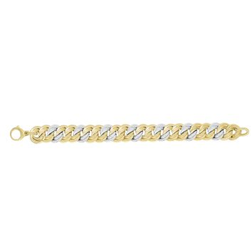14K Yellow-White Gold Shiny 14.8mm Alternate 2 Yellow+1 White Twisted Flat Double Round Link Fancy Bracelet with Large Lobster Clasp