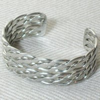 70s Silver Braided Cuff Bangle Bracelet