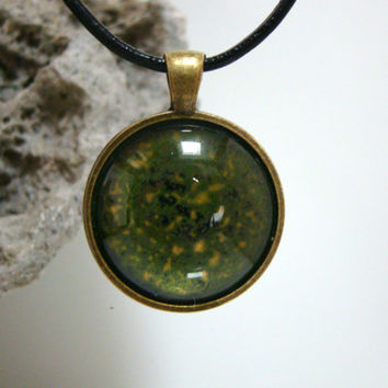Small Round Hand painted glass pendant Green and Gold Pendant Hand painted jewelry necklace Alcohol ink pendant