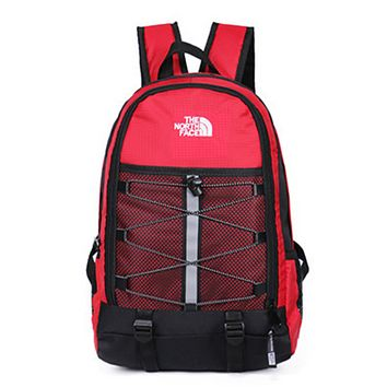 The North Face New fashion embroidery letter couple backpack bag Red