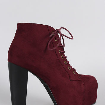 Speed Limit 98 Suede Lace Up Platform Booties