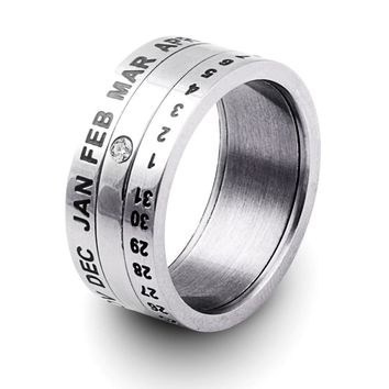 Number and Month Date Letter Rotatable rings for men anillos Titanium Stainless Steel Punk Party Ring Jewelry