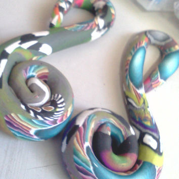 "Pandora Collection - Musical Clef- 5/8"" Gauge Handmade Punk Ear Cyber Ooak Hippie Body Jewelry"