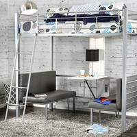 Lambert collection silver metal finish Twin over Twin workstation bunk bed set with seats