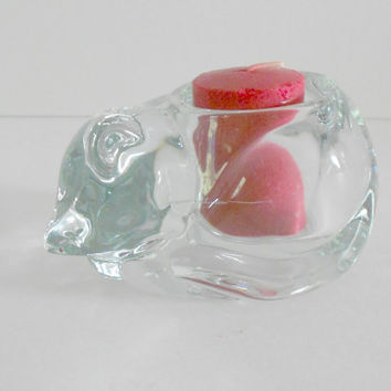 Glass Candle Holder Cat Votive Kitten Paper Weight Indiana Glass Company