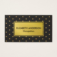 Glam Faux Gold and Black Stars Business Card