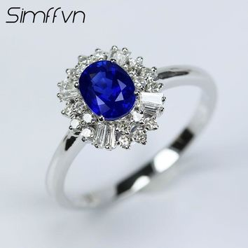 Simffvn Vintage 18K White Gold 0.78CT Round Cut Blue Sapphire Rings For Women Engagement Ring Gemstone Bridal Ring