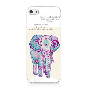 CRHK® Cute Rainbow Elephant Never Regret Quote Pattern Clear Back Skin Snap on Case Cover for 2013 Apple iPhone 5C + Screen Protector + CRHK stylus