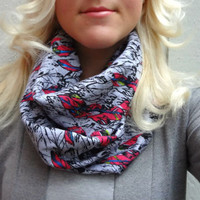 Infinity scarf - graphic feather print loop scarf - boho - hipster - feminine