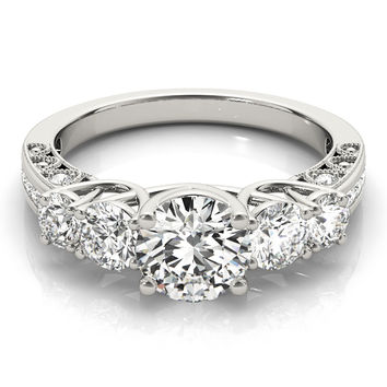 Engagement Ring -Vintage Five Stone Diamond Trellis Engagement Ring-ES2107