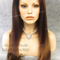 """24 inch Heat Safe Synthetic Straight Texture Lace Front """"Aphrodite"""" in Reddish Medium Brown Mix"""
