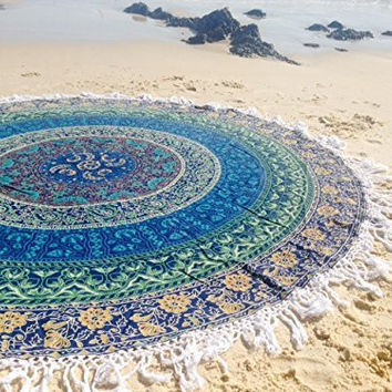 Mandala Peacock Tapestry Wall Hanging Indian Circle of Flowers Purple Round Throw Beach Picnic Blanket Round Bed Sheet Roundie Table Cover