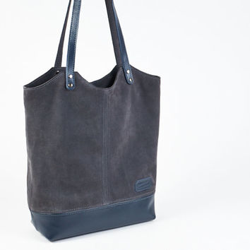 Grey suede tote bag with blue leather bottom. Grey Blue leather bag