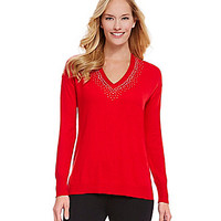 Chaus Beaded V-Neck Sweater
