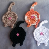 Cat Butt Coasters, Set of 4, Ready to Ship, Cat Coasters, Cat Butt, Stocking Stuffer, Coaster, Crochet, Cat, Cat Decor, Gag Gift, Crochet