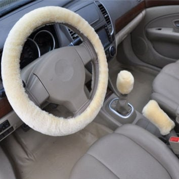 Beige 3pcs Artificial wool plush car cover steering wheel cover plush set handbrake cover car imitation fur steering wheel set gift Winter & Autumn Warm