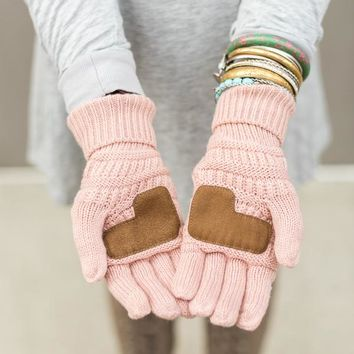 Knitted Texting Gloves - Pink