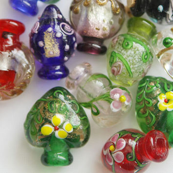wholesale 30 MINI Murano style Glass handmade lamp work  glass Perfume Oil Corked Bottle pendent