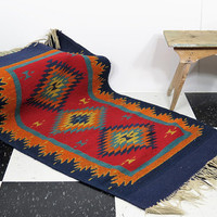 Zapotec Woven Wool Saddle Blanket . Quite Old and Worn . Southwestern Weaving . Vintage Mexican Rug