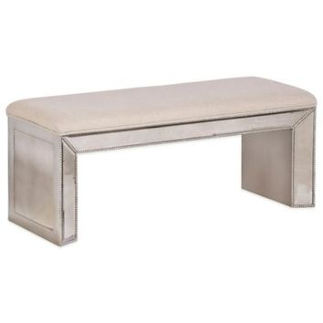 Bassett Mirror Company Murano Antique Mirror Bench in Silverleaf