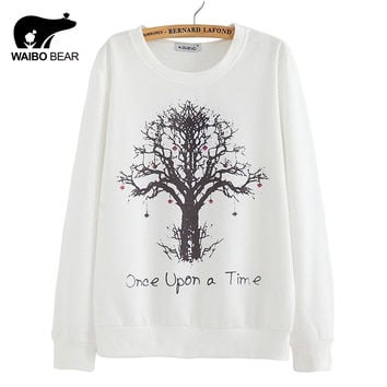 2016 New spring Hoody women Casual hoodies Strawberry tree print fleece inside long sleeve o neck letters sweatshirt for women