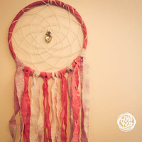 Dream Catcher - Dyed Pink - With Sparkling Prism and Unique Hand Dyed Textiles - Boho Home Decor, Nursery Mobile