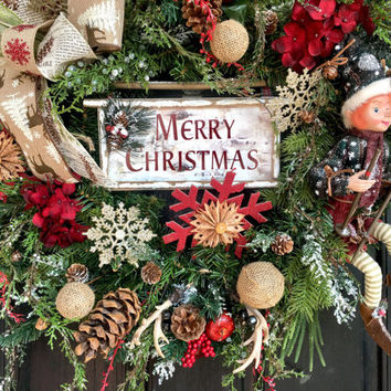 Christmas wreath, Rustic Christmas  Wreath, Primitive Christmas wreath, deer wreath, Christmas Elf wreath, woodland Christmas wreath