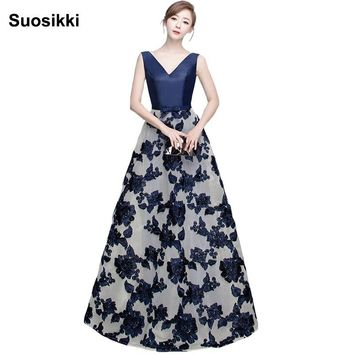 Suosikki A Line Evening Dresses Long Satin Flower Lace  Formal Evening Gowns prom Party dress great gatsby dress
