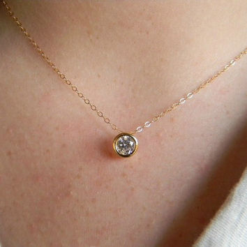Solitaire Necklace - Gold Filled Rhinestone Minimalist Necklace - Simple Everyday Jewelry - Bridesmaid Gift - Dainty Gold Necklace