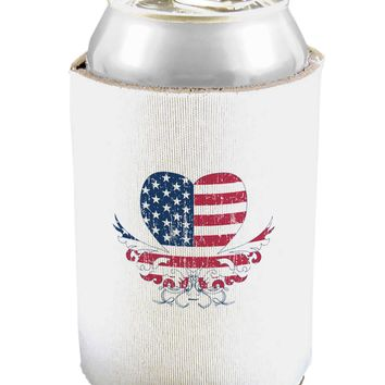 American Flag Decorative Floral Heart Vintage Can and Bottle Insulator Cooler