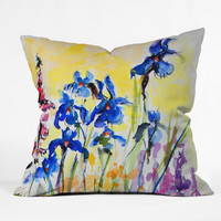 Ginette Fine Art Blue Irises Outdoor Throw Pillow