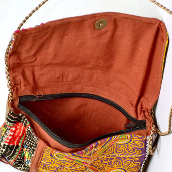 Vintage Tribal Hand Bag with Golden Unique Antique Thread-work