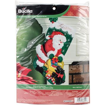 "Santa & Scottie Dog Bucilla Felt Stocking Applique Kit 18"" Long"