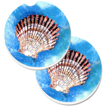 Scallop Sea Shell Set of 2 Cup Holder Car Coasters 8008CARC