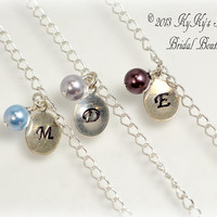 Personalized Initial Bridesmaid Bracelet with Swarovski Pearl Drop, Sterling Silver, Hand Stamped Jewelry, Wedding Jewelry, Choose Colors