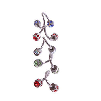 Surker 5pc Assorted Color Crystal Eyebrow Cartilage Twist Helix Ear Ring Earring Stud Bar 16G