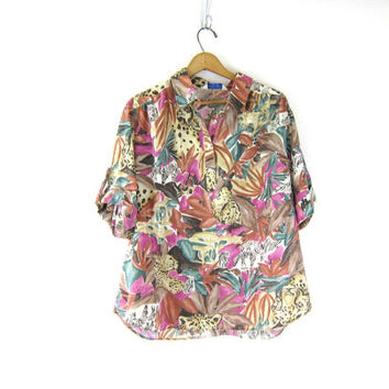 1970s jungle shirt Graphic tropical smock Tunic Pullover safari shirt 80s button front cuffed short sleeve tee Tigers Zebras animals size XL