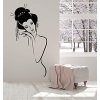 Vinyl Wall Decal Sexy Naked Japanese Girl Geisha Woman Stickers Unique Gift (1622ig)