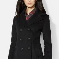 Women's Lauren Ralph Lauren Double Breasted Wool Blend Peacoat,