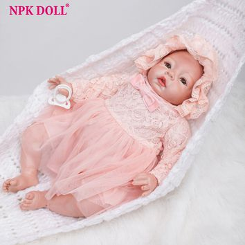 22 Inch Real Looking Dolls Baby Girl Silicone Reborn Dolls Bebe Born Princess Adora Doll Brinquedos Bonecas for Children Gift