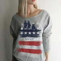 Thank a Vet Red White & Blue American Flag Southern Girl light weight french terry Sweatshirt - FREE SHIPPING in the USA