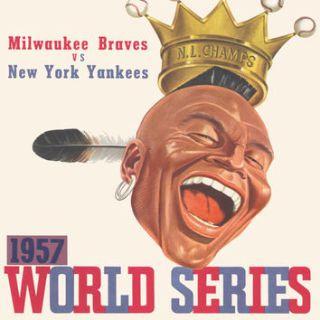 1957 Milwaukee Braves New York Yankees World Series Program Cover Vintage Baseball Art Gift Print Atlanta Brewers Hank Aaron Mickey Mantle