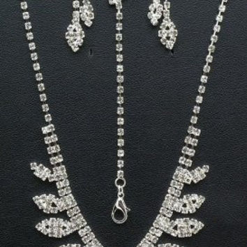 3 Piece Bling Crystal On Silver Tone Bridesmaid Bridal Evening Necklace Earring